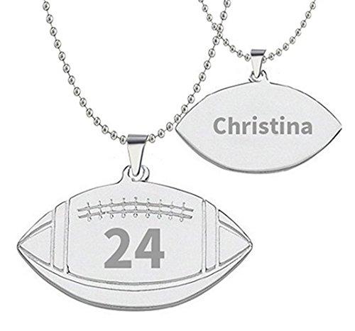 Hacool 925 Sterlingsilber personalisierte Unisex Herren American Football Name Halskette nach Maß mit Namen & Nummer (Damen:18 Zoll Kette)