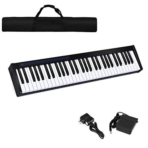Costzon 61-Key Portable Digital Piano, Upgraded Premium Electric Keyboard W/ 128 Rhythm, 128 Tone, Sustain Pedal, MIDI/USB Interface, Power Supply, Bluetooth Function (Black)