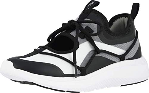 Vionic Women's Delmar Giselle Lace-up Leisure Shoe - Ladies Walking Shoes with Concealed Orthotic Arch Support Black White 8.5 Medium US