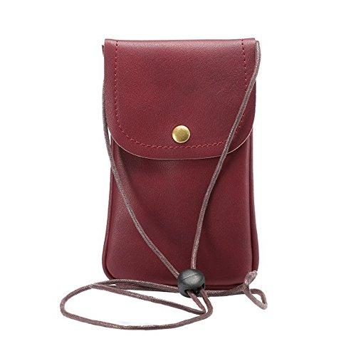 alotm Handy Tasche, Universal PU-Leder Crossbody-Tasche mit Schultergurt Handy, der Fall für iPhone X 8/8PLUS 7/7plus 6/6S Plus/5S/5C/, Samsung S8S7S6Edge unter 14,5cm, dunkelrot