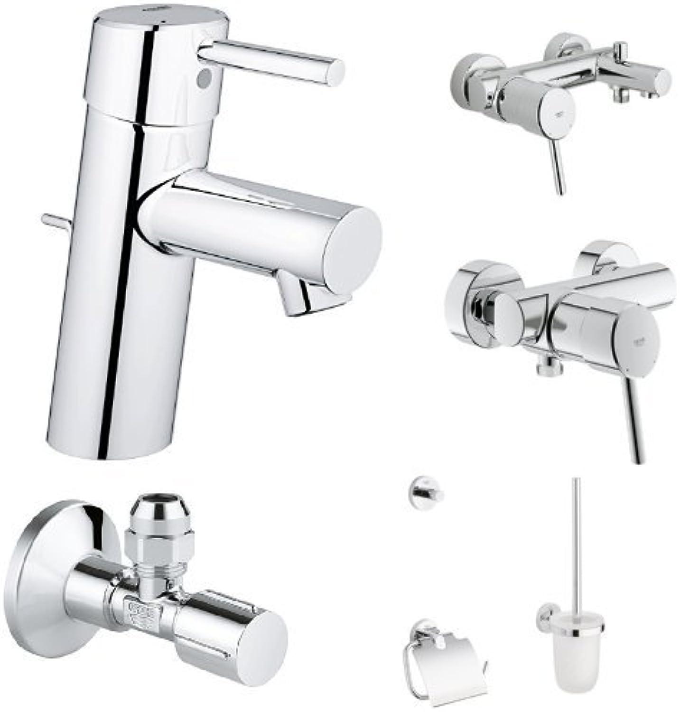 Grohe Concetto Waschtischarmatur S Größe + Concetto Einhand-Wannenbatterie + Concetto Brausearmatur + Essentials Accessoires WC-Set 3-in-1 + 2x GROHE Eckventil