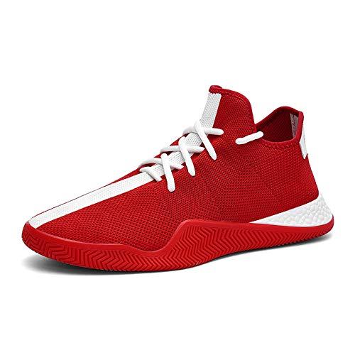 Entrenadores Hombres Zapatillas de Deporte, Ligth Peso Casual Malla Transpirable Running Zapatos Deportivos Personalidad de la Aptitud Zapatos Atléticos al Aire Libre,Rojo,41