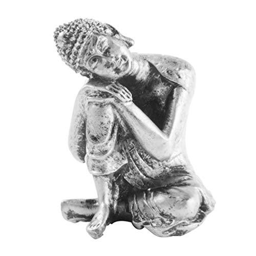 VOSAREA Schlafender Buddha Statue Figurine Buddha Skulptur Zuhause Meditation Geschenk Tischdekoration (Silbergrau)