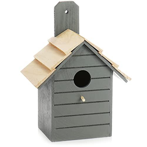 com-four® Vogelhaus aus Holz - Nistkasten für Kleinvögel - Dekoratives Futterhaus zum Aufhängen - Vogelhäuschen für kleine Wildvögel (01 Stück - 16.5x10.5x22cm grau)