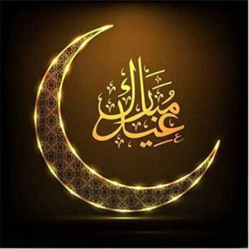 neivy Muslim Moon Icon Diamant Zeichnung Bild Handgemachte 5D Diamant Stickerei DIY Malerei Wohnzimmer Wandkunst Handwerk Home Decoration (Quadrat 40x40cm)