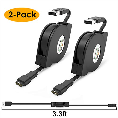 XIMU Opladen Kabel Compatibel met Garmin Vivoactive 3, vívoactive 3 MUSIC 2-Pack Vervangende USB-oplader met 10 Stof Plugs Protector Voor Garmin Fenix 5 5S 5X / Instinct/Foreruner/Approach S40