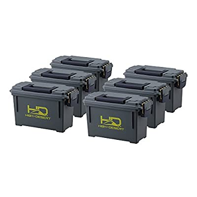 "High Desert Plastic Ammo Boxes (6 Pack), Large 11-1/2"" x 5-1/8"" x 7"""