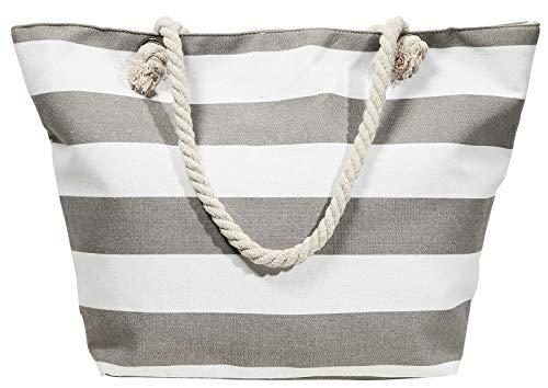 Beach Bag Streifen grau Strand- Sauna- Schwimmbadtasche Blockstreifen in 6 Farben erhältlich