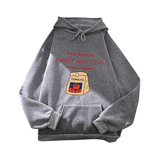 Sudaderas Mujer con Capucha Color Lisas Camiseta de Manga Larga Túnica Suéter con Cordón Chaqueta con Bolsillos Abrigo Jersey Otoño-Invierno Oversize Hoodie Blusa Calle BBS04 (Gris, XL)