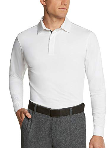 Three Sixty Six Men's Dry Fit Long Sleeve Polo Golf Shirt, Moisture Wicking, UPF 30 and 4 Way Stretch White
