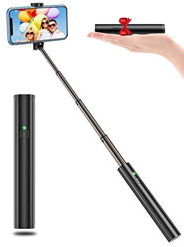 Bovon Selfie Stick Bluetooth, Aluminium All-in-one Leicht Tragbare Selfiestange, Erweiterbarer Selfiestick Kompatibel mit iPhone 12 Pro Max, 12 Mini, 11 Pro Max, Galaxy S10 Plus, S10e, Note 9 usw.