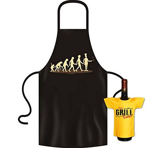 Goodman Design Evolution Grill Mensch - Juego de delantal y camiseta para barbacoa