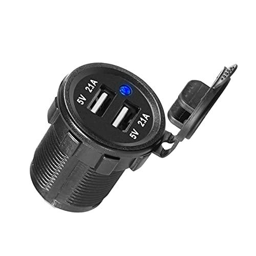 MEIKAI Cargador de Coche Interruptor del Interruptor Voltímetro Dual USB Zócalo 1 2V 4.2A Encendedor EN/Off Rocker 4 EN 1 Camper Moto Power Adaptador (Color Name : 2 USB)