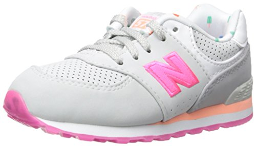 New Balance New Balance KL574 State Fair Running Shoe (Infant/Toddler), Grey/Pink, 17 W EU