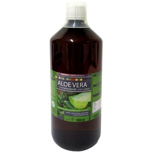 HNK Aloe Vera Saft - 1000 ml | IASC Qualitätssiegel | 99,6 Reiner Frischpflanzensaft und keine Rückverdünnung aus Konzentrat | Premium Qualität | Mit Dosierbecher