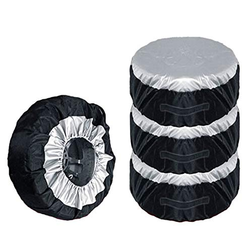 4pcs Bolsas de almacenamiento Caja de la cubierta de neumáticos Cubierta de neumáticos de repuesto del automóvil Lleve Tote Toma de poliéster para automóviles Cubiertas de protección contra ruedas