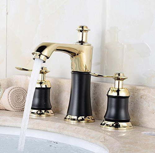 Waterkraan, 3-delig, Europese stijl, met kasten, badkamer, kraan, robuust, warm en koud waterkraan, met twee aansluitingen.