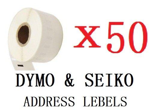 UCI 11352 [ 50 Roll ] Non OEM compatibile standard white indirizzo etichetta For DYMO and SEIKO etichetta stampante, 25*54mm 500 etichetta per Roll, permanent glue, glassine backing, announcement and optimized For above model,