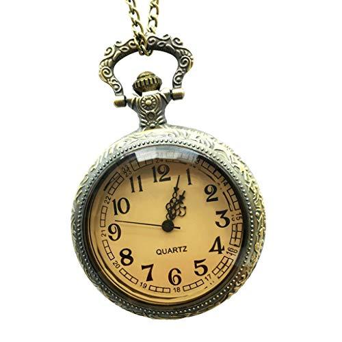 IPOTCH Cadena del Collar del Cuarzo del Reloj de Bolsillo del Patrón de Flor Antiguo Retro Retro para El Regalo