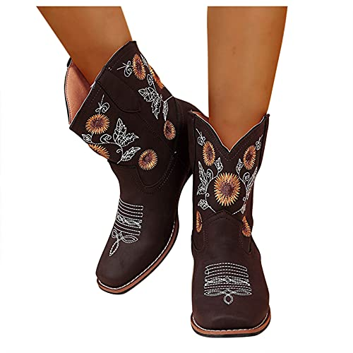 HIRIRI Sunflower Boot Slippers for Women Square Toe Cowboy Boots Embroidered Ethnic Style Square Heel Ankle Boots Coffee