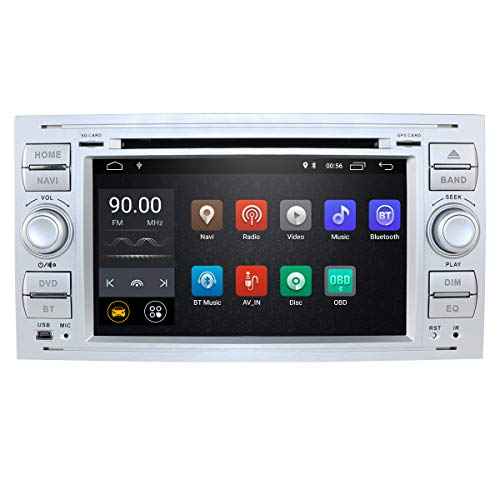 Android 10 Autoradio Double Din con sistema operativo per Ford C-Max/Connect/Fiesta/Focus, lettore DVD integrato + supporto telecomando Mirror-link Bluetooth WiFi 4G EQ DVR SWC RDS(Argento)