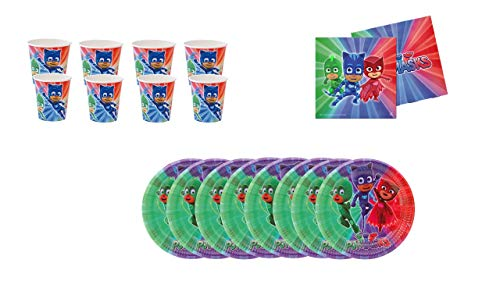 PJ Masks ALMACENESADAN 0491, Pack Fiestas y cumpleaños; 8 Platos 23 cm, 8 Vasos, 20 servilletas