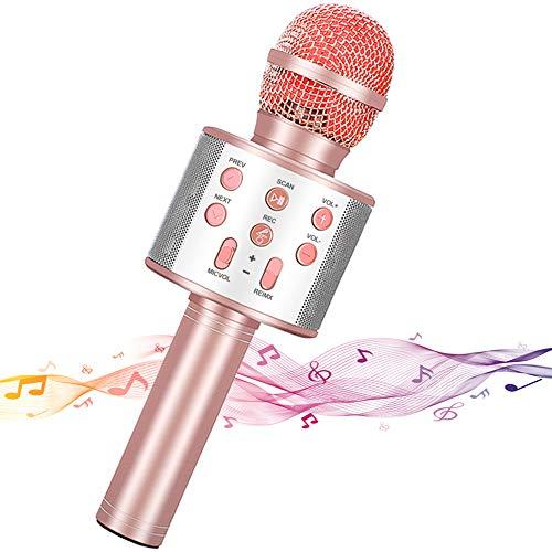 Micrófono Inalámbrico Karaoke,Guiseapue Micrófono karaoke microfonos Bluetooth Altavoz para Niños Canta Partido Musica Compatible con PC/iPad/iPhone/Smartphone(Oro rosa)