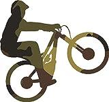 Mountain Bike Wheelie Vinyl Decal - 5 Inches - For Cars, Trucks, Windows, Laptops, Tablets, Outdoor-Grade 2.5mil Thick Vinyl - Camo Print