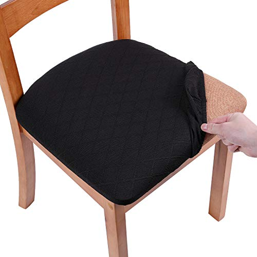 smiry Stretch Jacquard Dining Chair Seat Covers, Removable Washable Anti-Dust Upholstered Chair Seat Cover for Dining Room, Kitchen, Office (Set of 6, Black)
