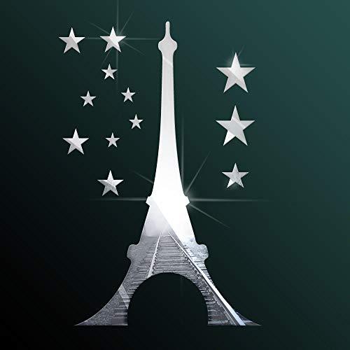 Whinop 13 Piezas de Decoracion Espejo de La Torre Eiffel de Espejos Sin Marco de