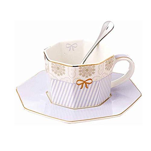 ZLDGYG Geométrica Simple Taza de cerámica y platillo, Anís Estrellado Juego de té, Rayado púrpura de Tres Piezas de la Taza de café