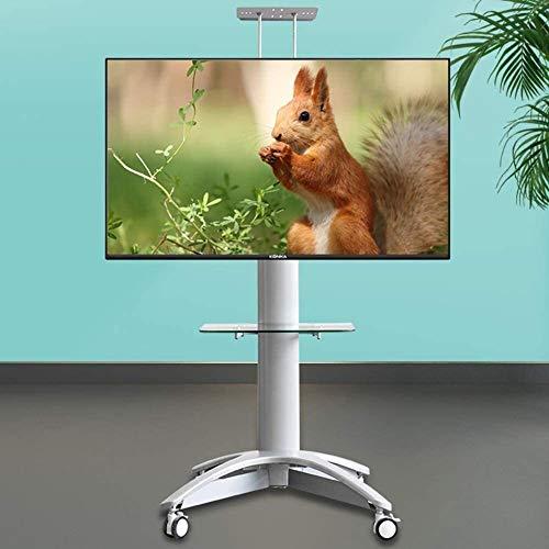 TYHZ Staffa TV Montaggio Universale con Ruote, Carrello TV Carrello rotolamento Supporto TV a Supporto TV w/Ruote e ripiano Regolabile per 32-65 Pollici LED LCD Schermo Piatto OLED LED, Monitor per