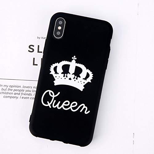 YSDSBM per Coppia Custodia a Forma di Corona per iPhone 5 5s SE 6 6s 7 8 Plus X Pure King Queen Letter Morbida Cover Posteriore in TPU