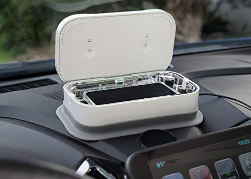 utilimedic UV8LED Phone Sanitizer for in-Car Use | 8 UV-C LED Lights eliminating 99.9% of Bacteria and Viruses | Wireless Charging Pad