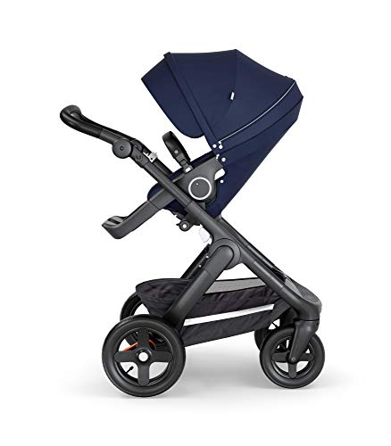 Product Image of the Stokke Trailz Deep Blue Baby Stroller with Terrain Wheels and Black Leatherette...