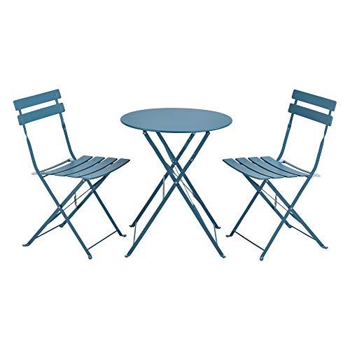 [en.casa] Bistro Set Caprile Balkonset 3-TLG. Tisch 2 Stühle Essgruppe Sitzgruppe Gartenmöbel Stahl Türkis