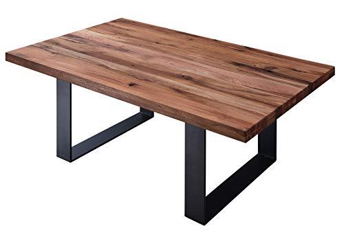 Table basse carrée 90x90cm - Métal et Bois massif de chêne lombard huilé (Tabacco brown) - MONTREUX #317