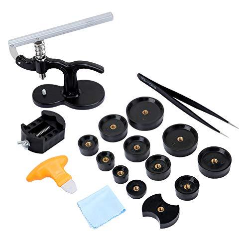 Coolty 17 Stück Uhr Presse Set, Legierung Uhrmacher Reparatur Werkzeug Satz mit 12 Druckplatten Kunststoffeinsätze