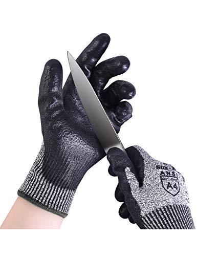 Donfri Guanti da taglio anti-taglio, protezione ad alte prestazioni, grado 5, resistenti al taglio, comodo schermo tattile rivestito in poliuretano (1, XL)