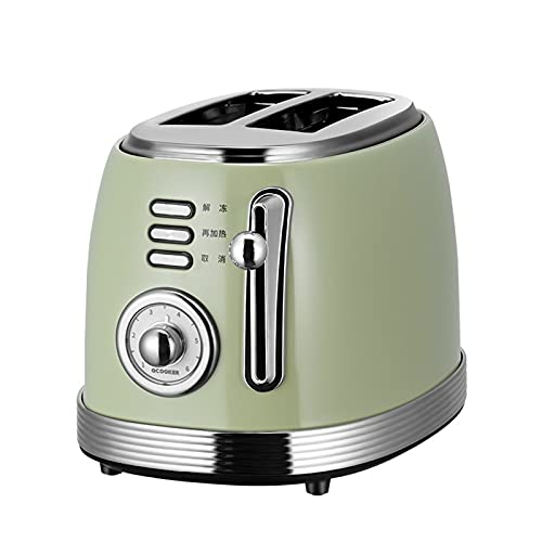 tostadora 2 rebanadas de acero inoxidable tostadora retro doméstico multifuncional automático pequeño mini tostado retro verde