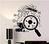 Chemical Molecular Pattern Classroom Children's Bedroom Carved Removable Wall Stickers Black 42x47cm