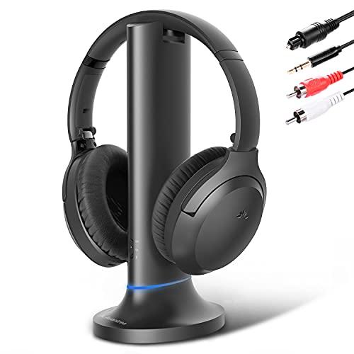Avantree Opera Cuffie Wireless per TV Senza fili con dock di ricarica trasmettitore, cuffia Bluetooth 5.0 a lungo raggio, controllo volume, nessun ritardo audio, pulsante di disattivazione audio TV
