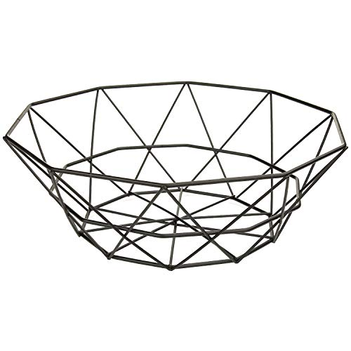 MACOSA CP78272 Dekoschale Dekokorb Metall schwarz Moderne Design-Schale Metall -Korb Aufbewahrungskorb Küchenkorb Drahtkorb Gemüsekorb Obstkorb Obst-Schale