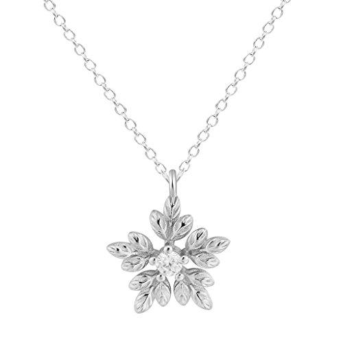 Qiandi Plata de Ley 925 Flores Hojas Zircon Crystal Collar Colgante Accesorios Regalo de cumpleaños