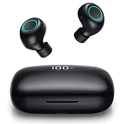 Feob Wireless Headphones Bluetooth 5.0 Earphones?2019 New LCD Digital Display?3500mAh Charging Case True Wireless Earbuds 50H Playtime 3D Stereo Sound Noise Cancelling CVC 8.0 Headphones Waterproof