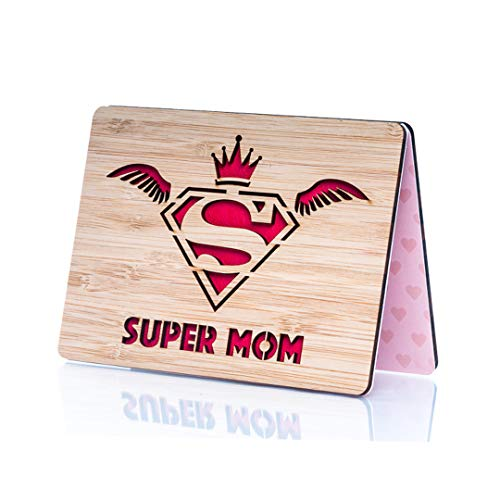 Wooden Mothers Day Card; Perfect Mothers Day Gift for Wife, Mom, Daughter, Grandma or Aunt; Unique Laser Cut Supermom Design; Ideal Happy Birthday mom Card; True Keepsake Happy Birthday Card for mom