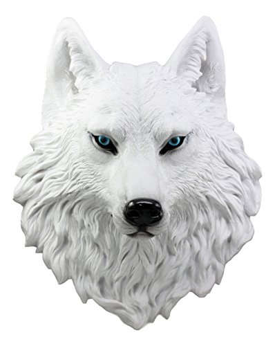 Ebros Large Ghost Albino Snow White Wolf Head Wall Decor Plaque 16'Tall Taxidermy Art Decor Sculpture Canis Lupus Wall Bust Plaque