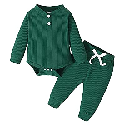 Amazon - 5% Off on Baby Boy Girl Long Sleeve Romper Pants Set Cotton Solid Cotton Fall Outfit
