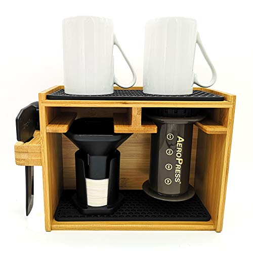HEXNUB – Organizer Compatible with AeroPress Caddy Station Holds AeroPress Coffee Maker Filters Cups Accessories Silicone Dripper Mat Compact Keeps Area Clean and Orderly Black