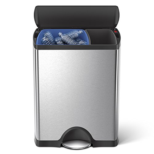 simplehuman 46 Liter / 12.2 Gallon Stainless Steel Rectangular Kitchen Dual Compartment Step Trash Can Recycler, Brushed Stainless Steel With Plastic Lid